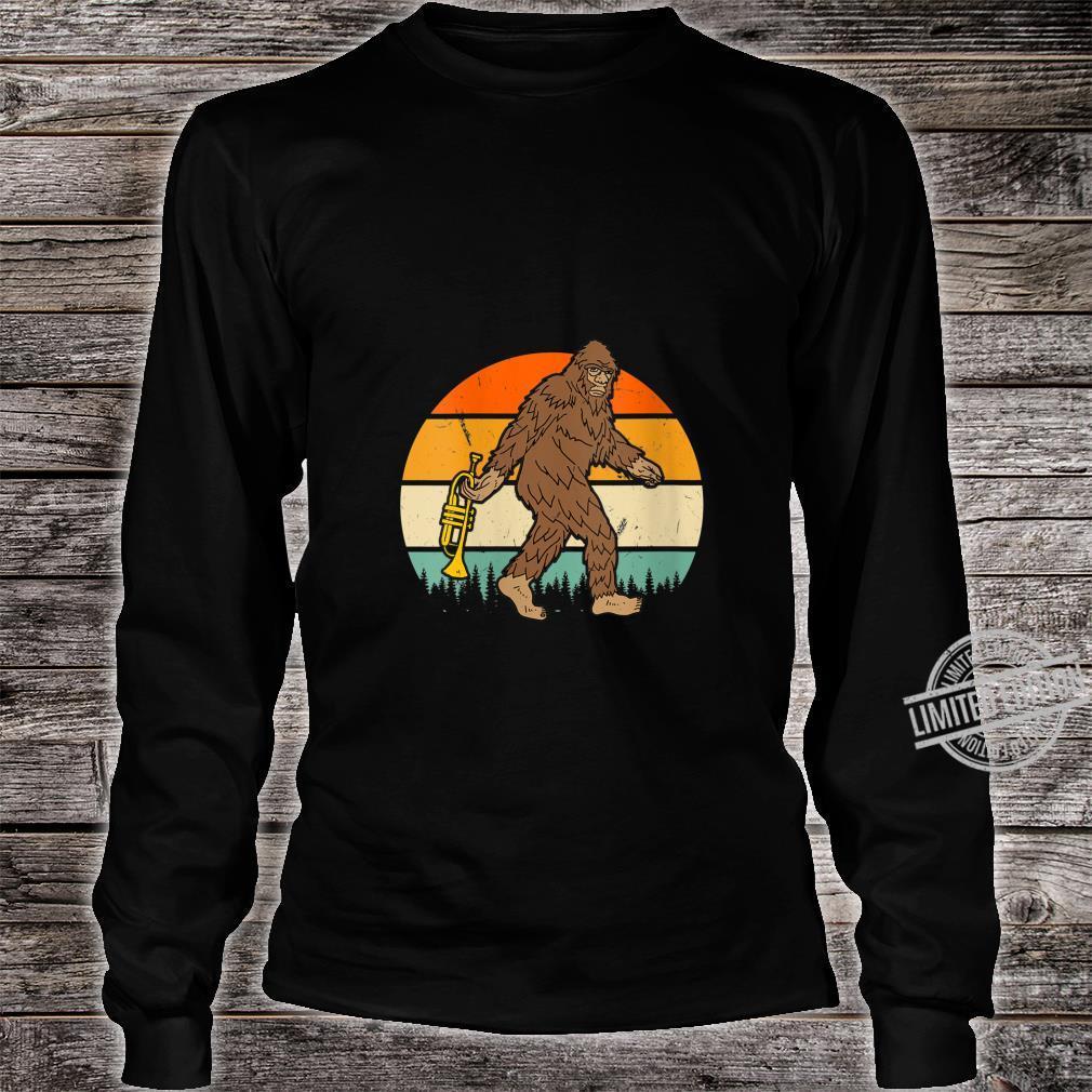 Womens Vintage Bigfoot Sasquatch Trumpet Birthday Christmas Shirt long sleeved