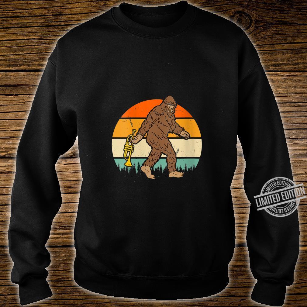 Womens Vintage Bigfoot Sasquatch Trumpet Birthday Christmas Shirt sweater